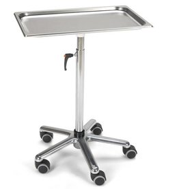 Medische Vakhandel Instrument table Chrome height Stainless steel shelf 53 x 33 cm height 69 cm to 111 cm