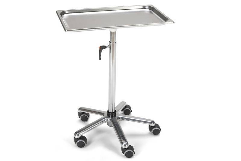 Instrument table Chrome height Stainless steel shelf 53 x 33 cm height 69 cm to 111 cm