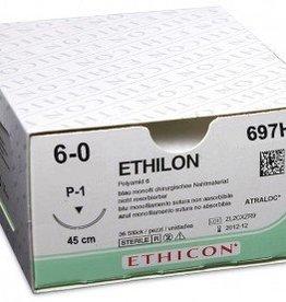 Ethicon Ethilon II USP 6/0, 45 cm, P1 prime schwarz, 697H, 36 Stück