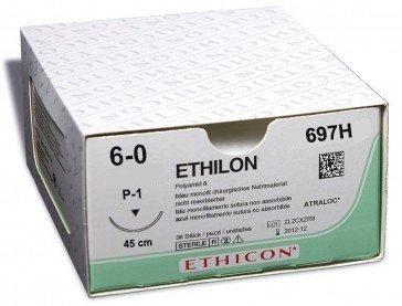 Ethilon II USP 6/0, 45 cm, P1 prime schwarz, 697H, 36 Stück