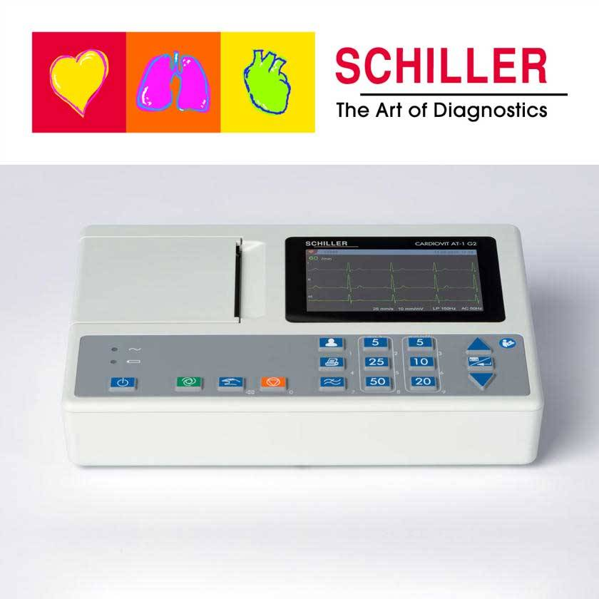 Zubehör und Interpretationssoftware für das Schiller-EKG AT1 G2