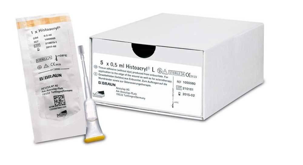 Histoacryl weefsellijm, 0,5 ml ampullen 5 stuks