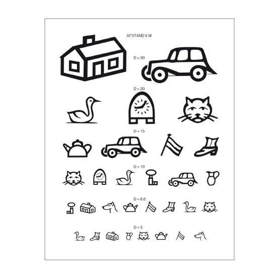 Visus card children's symbols 5 meters away color: transparent