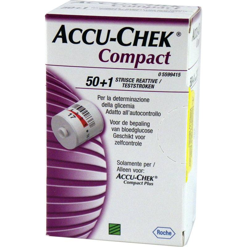 Roche Accu-Chek Compact test strips - 51 pieces