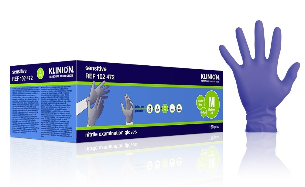 Klinion Nitril Sensitive Handschuhe - lila - M 7/8 - 150 Stück