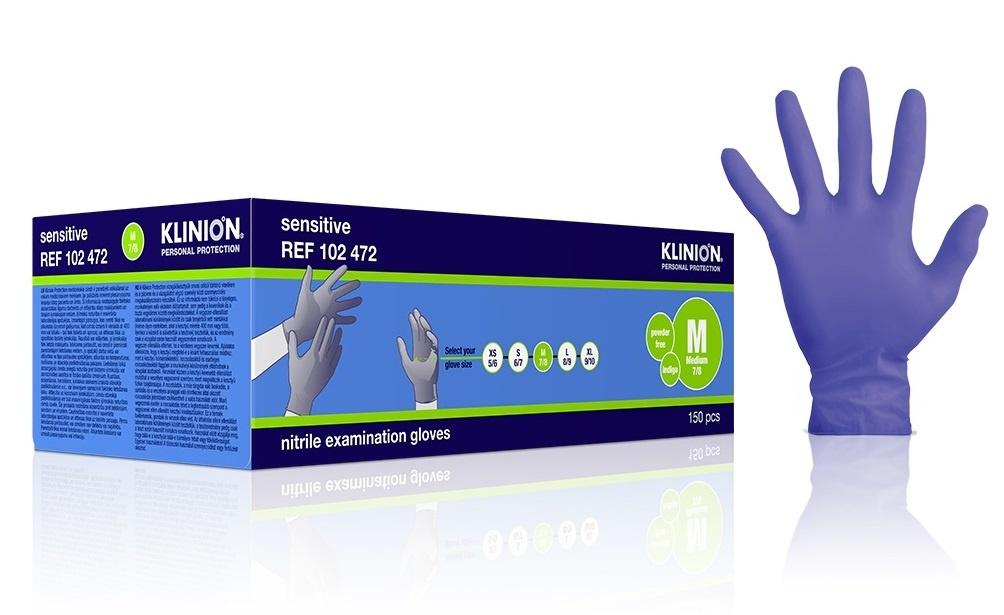 Klinion Nitrile Sensitive gloves - indigo - M 7/8 - 150 pieces