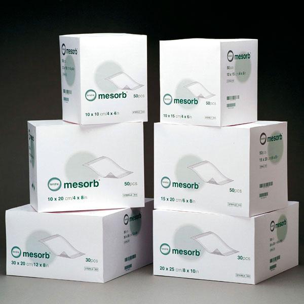 Mesorb absorbierender halbdurchlässiger, nicht klebender Verband 10 cm x 13 cm - 50 Stück