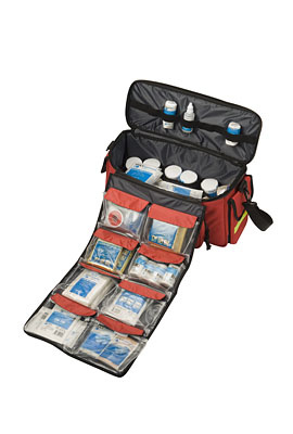 HEKA first-aid shoulder/sports bag with sports and event filling