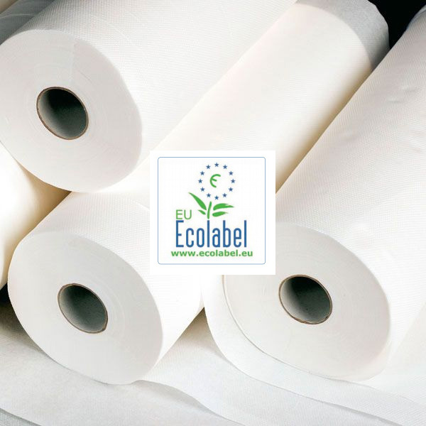 Couch rolls bench paper 59 cm x 150 mtr 100% High white Cellulose EU Ecolabel certificate