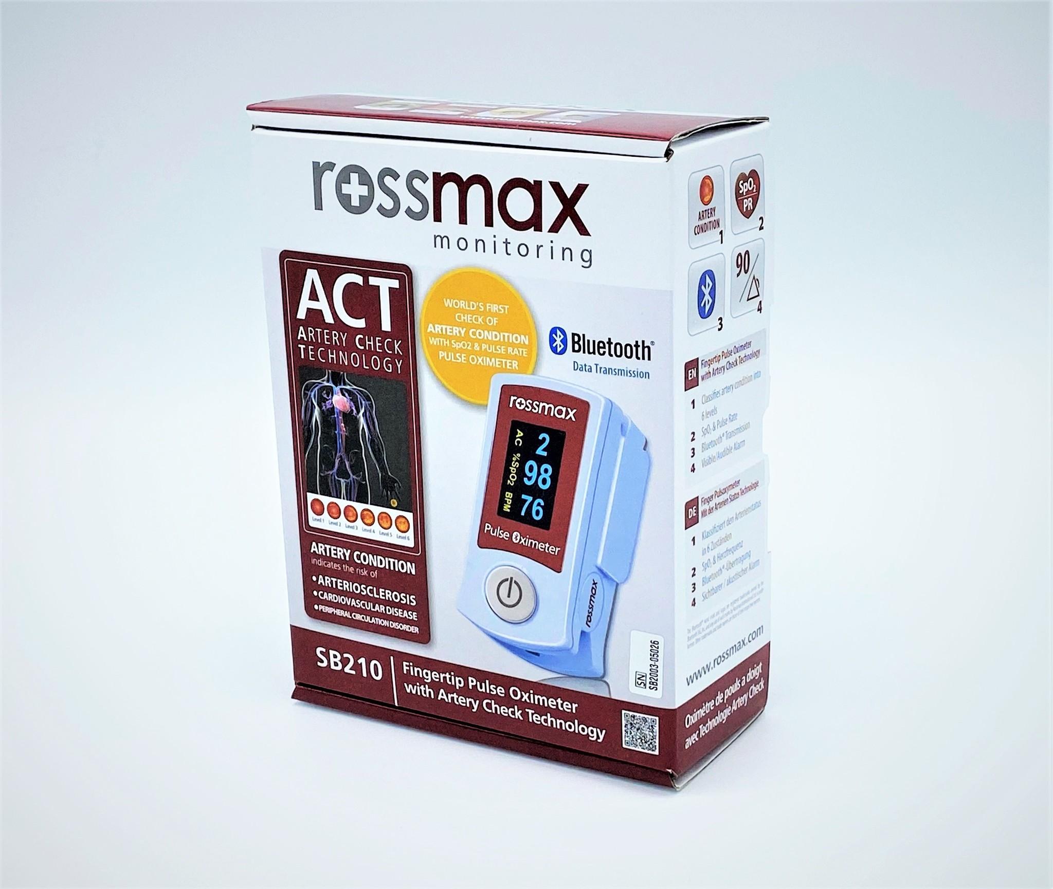 Rossmax APG pulse oximeter with arterial stiffness measurement (ACT)