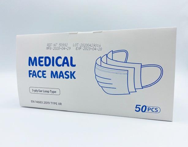 Mondmasker 3 laags voor medisch gebruik EN 14683 Typ IIR