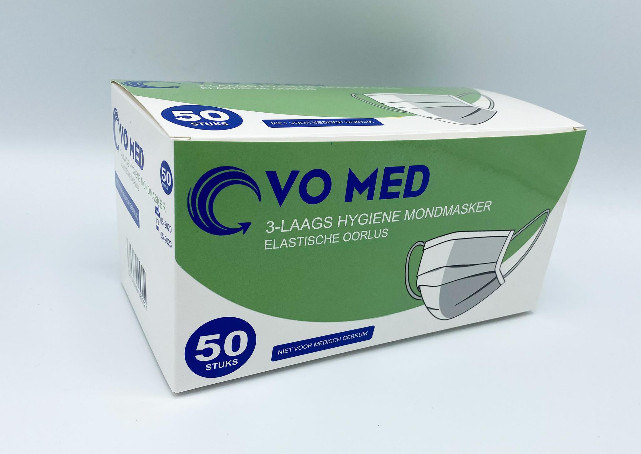 Mondmasker  VO MED type I 3 laags mondkapje, gecertificeerd