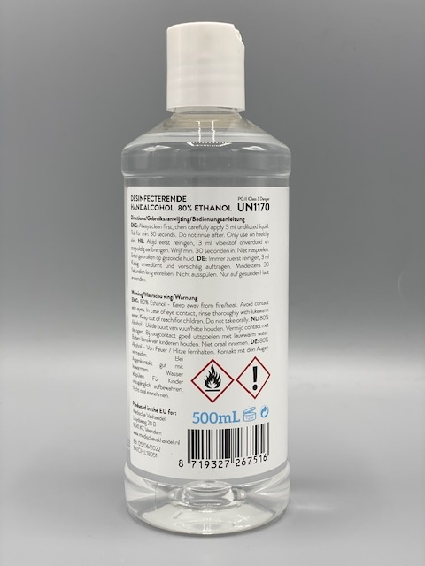 Medische Vakhandel Disinfectant hand alcohol 80% WHO prescription