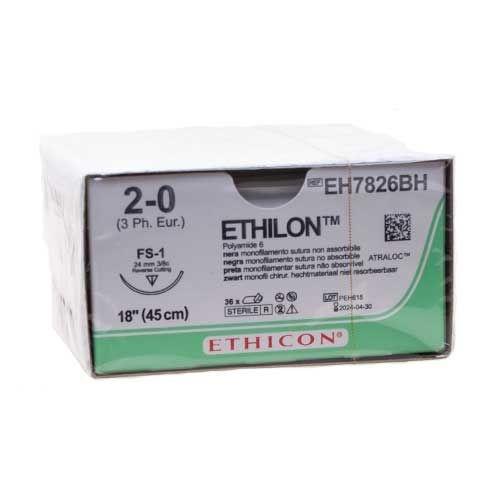 1e KEUS: Ethilon II usp 2-0 45cm FS-1 blauw I4 EH7826BH 36x1