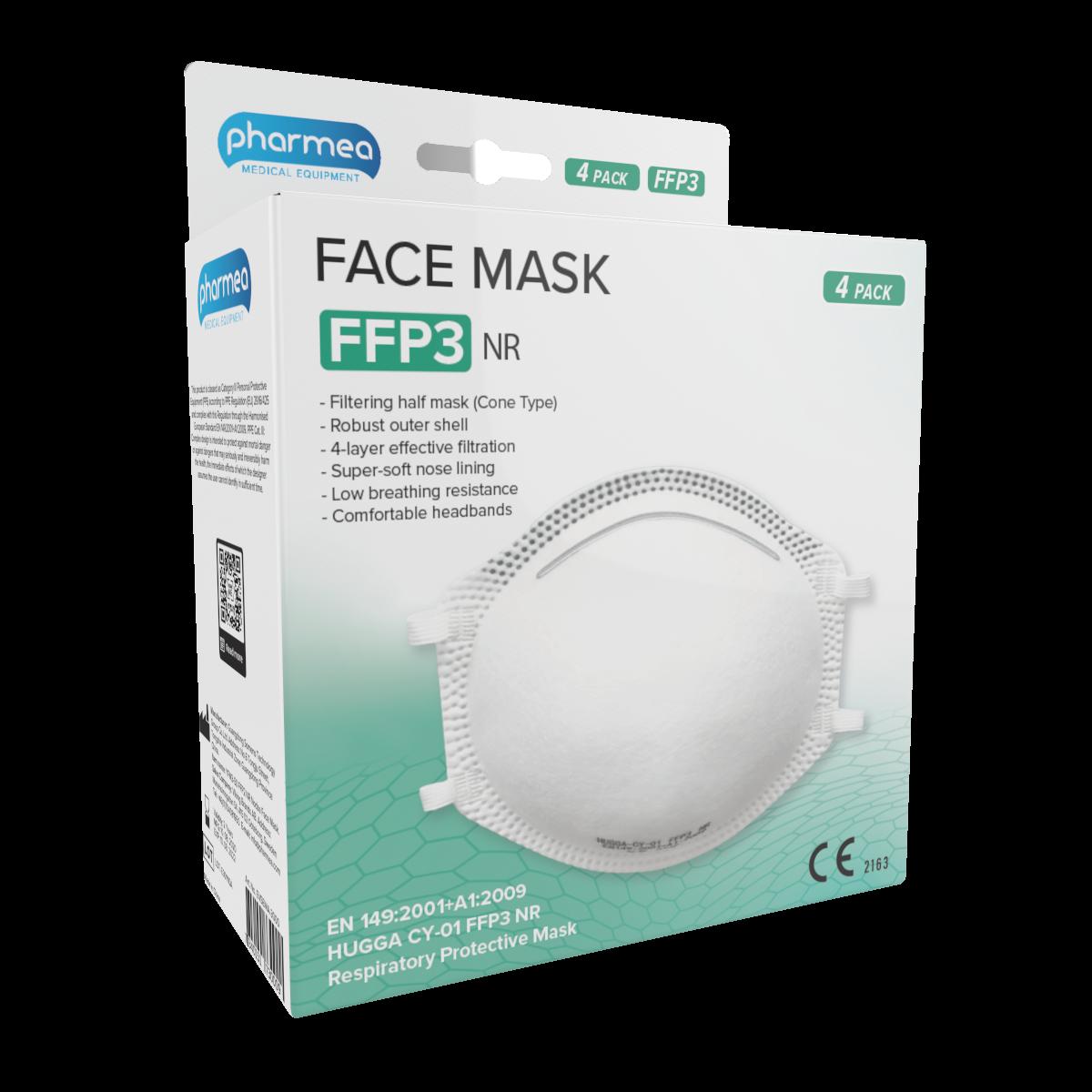 Pharmea Facemask FFP3 Mondmaskers 4 stuks