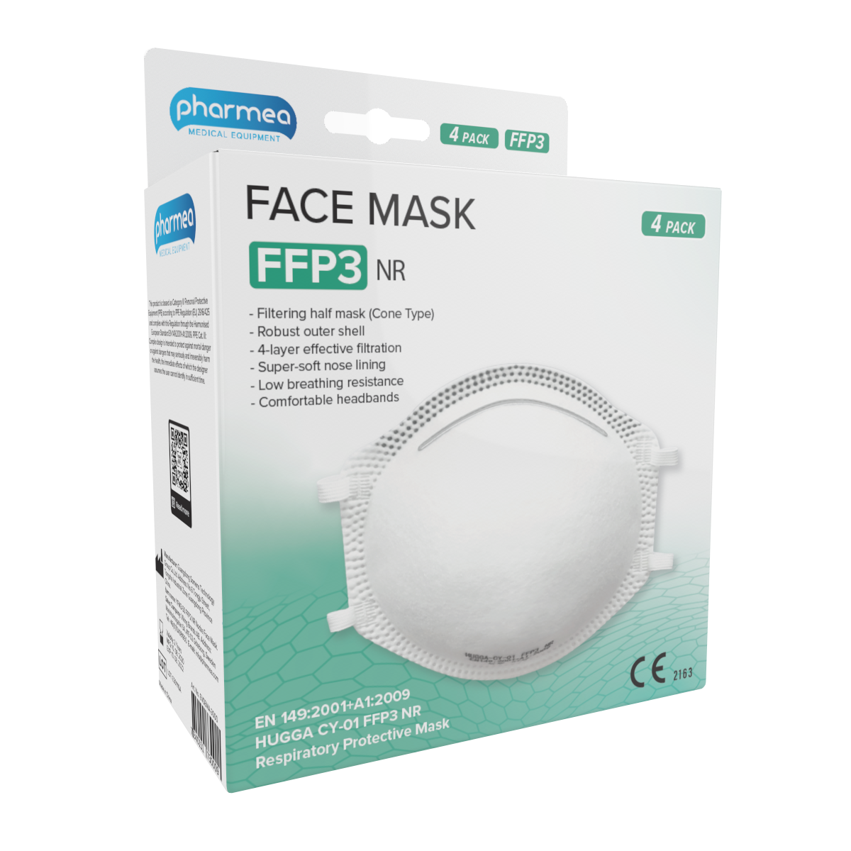 Pharmea Facemask FFP3 Mouth masks 4 pieces