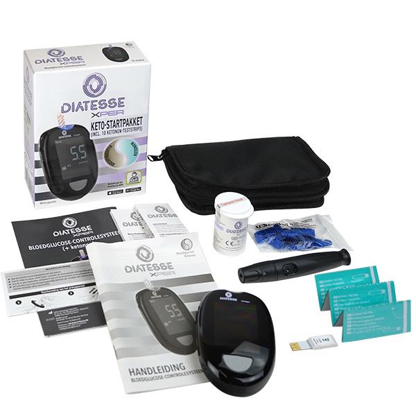Diatesse XPER Starterpaket - Glukosemessgerät und Ketonmessgerät + 10 Ketonen Teststreifen