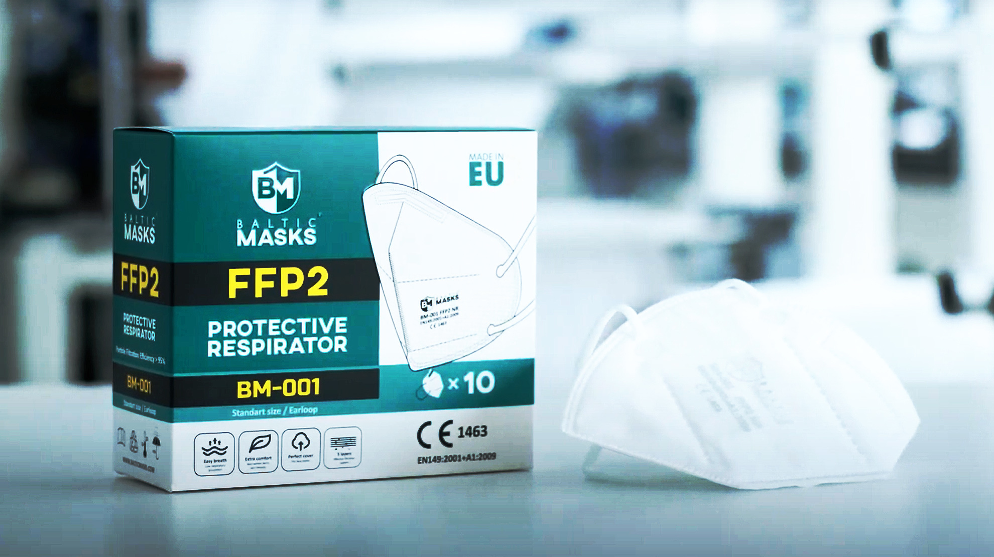 Baltic Masks Gesichtsmaske FFP2 Mundmasken 10 Stück, Made in Europe