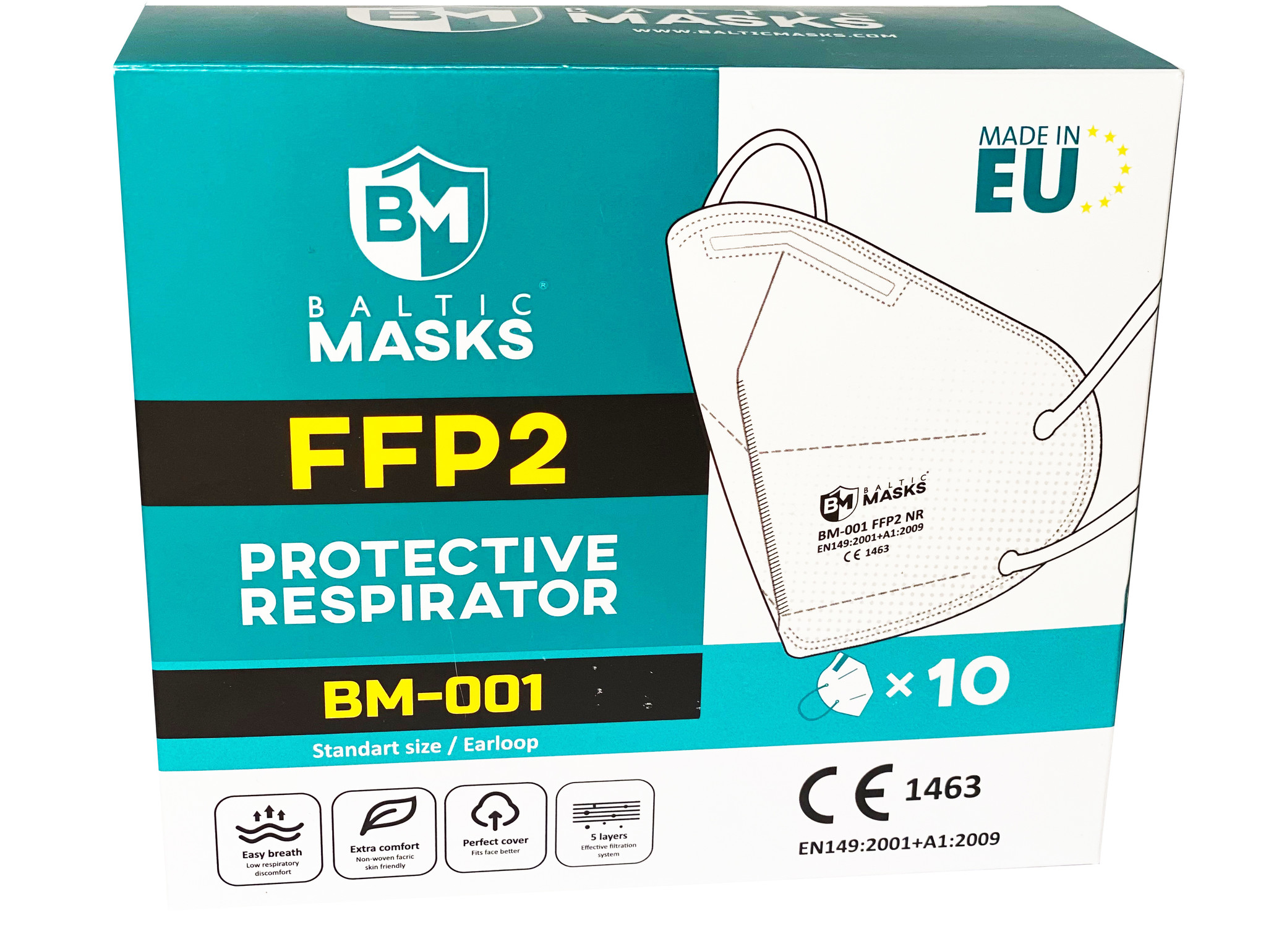 Baltic Masks Facemask FFP2 Mouth masks 10 pieces, Made in Europe