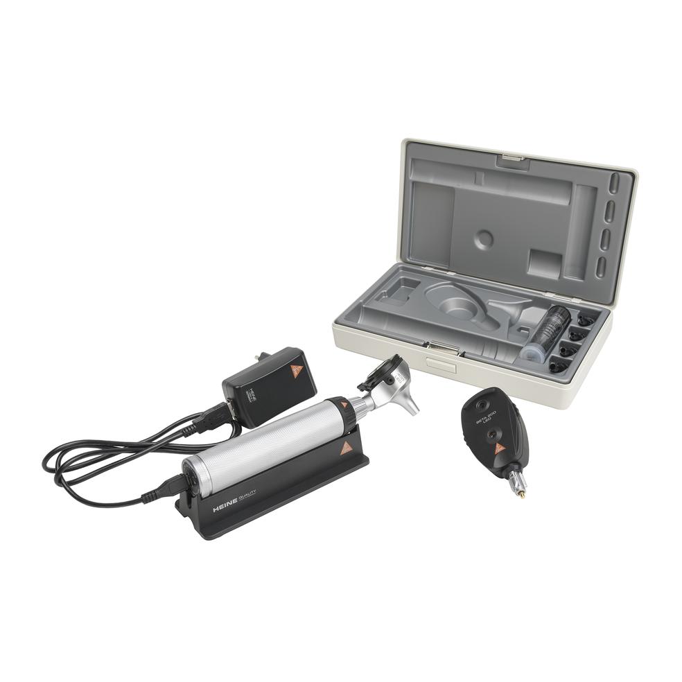 HEINE BETA®400 LED F.O. OTOSCOOP + BETA 200 LED OPHTALMOSCOOP set met USB oplader