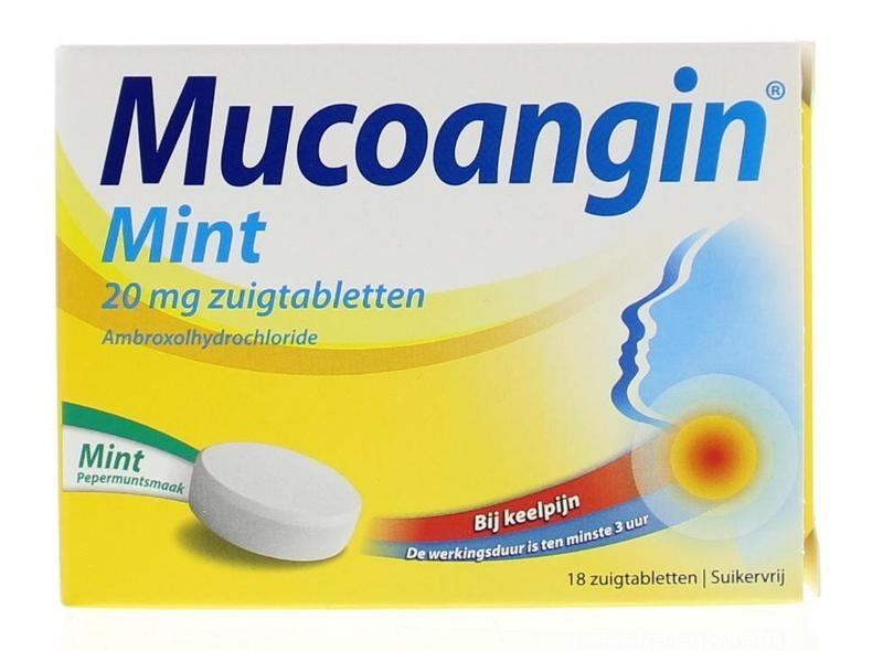 Mucoangin Mint - suikervrij - 20 mg - 18 zuigtabletten