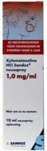 Xylometazoline 1 mg/ml spray Sandoz - 10 ml