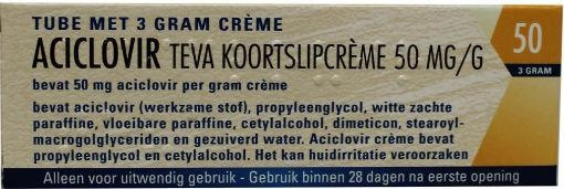 Teva Aciclovir koortslip creme 50 mg/g 3 gram