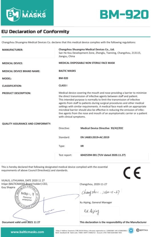 Mondmaskers / Mondkapjes - medisch - EN 14683 Baltic Masks Type IIR