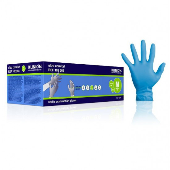 Klinion protection ultra comfort examination gloves medium nitrile 150 stuks