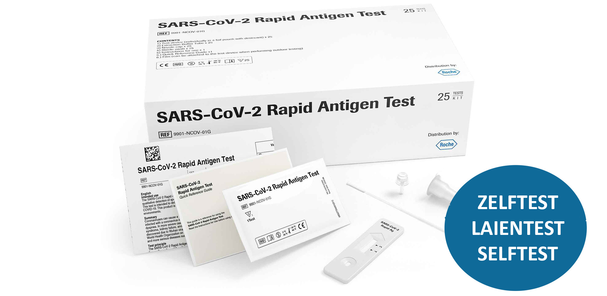 Corona self-test private 25 pieces, Roche Corona-Antigen test, nose swab - approved by VWS