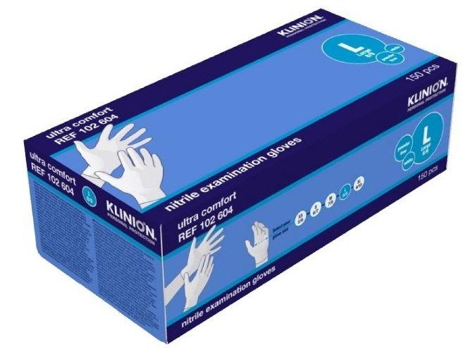 Klinion protection ultra comfort examination gloves large nitrile 150 stuks