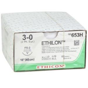 1e KEUS Ethilon II usp 3-0 45cm FS-2 zwart 653H 36x1