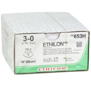 Ethilon II usp 3-0 45cm FS-2 black 653H 36x1