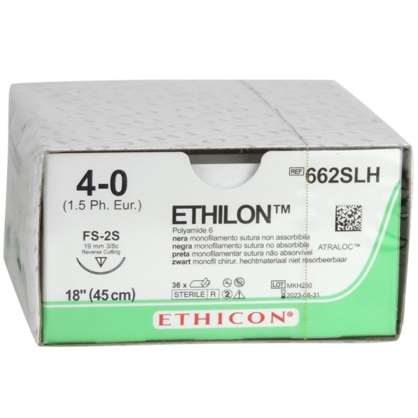 Ethilon II usp 4-0 45cm FS-2S black monofil 662SLH 36x1