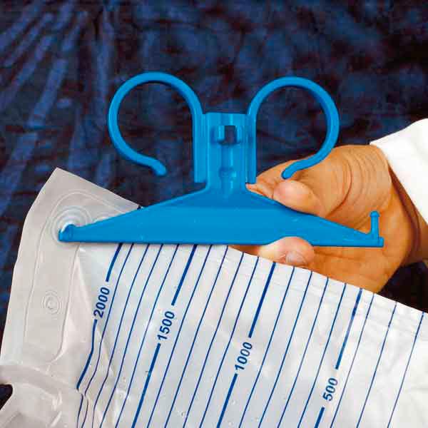 DCT urine bag holder - plastic - blue
