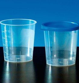 Medische Vakhandel Urinbecher mit blauem Schnappdeckel, 100 Stück