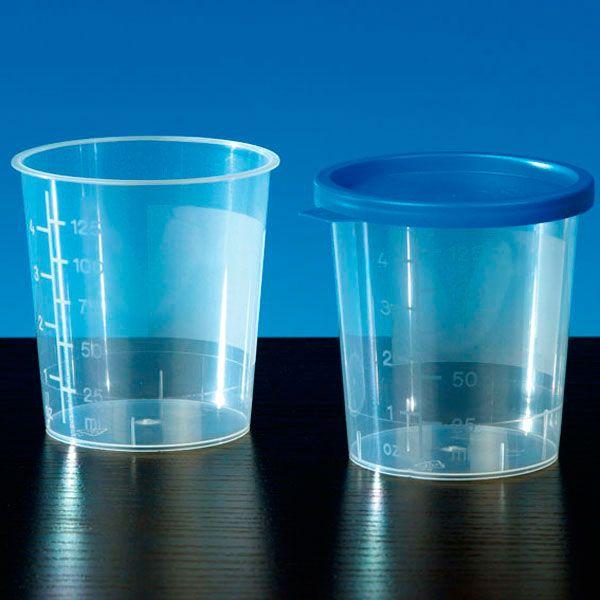 Urinebeker met blauwe deksel - 100 stuks