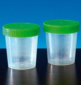 Medische Vakhandel Urine specimen cups, 125ml with green screw caps - 35 pieces