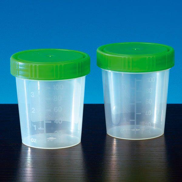 Urinebekers 125 ml met groene schroefdeksel - 35 stuks