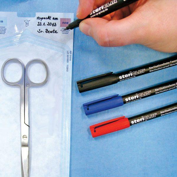 Sterilisationsfeste Faserschreiber, 1 Stück, Schwarz