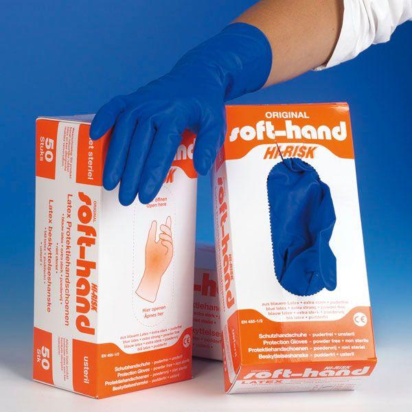 Soft-Hand Hi-Risk - Pulverfreies S - Kleine 50 Stück - Extra lange Manschette