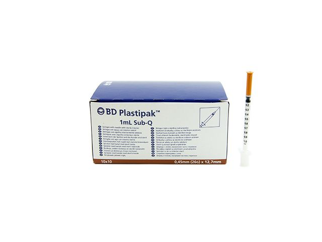 BD Insulinspritzen mit aufgesetzter Kanüle -26G - 0,45 x 12,7 mm - 1 ml - Sub Q
