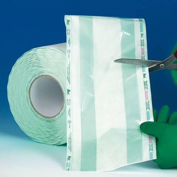 Sterilisationsrolle mit  Falte, 100 Meter x 38 cm