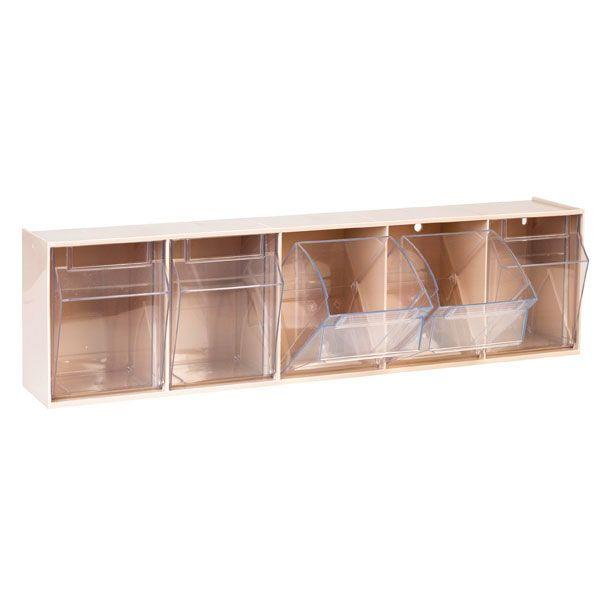 Aufbewahrungsbox für Spritzen und Nadeln, klein, beige, 5 Fäche