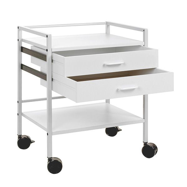 Instrument table with 2 drawers - Grey white