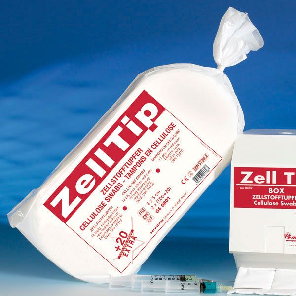 Zelltip cellulose celstof depper swabs 4x5 cm
