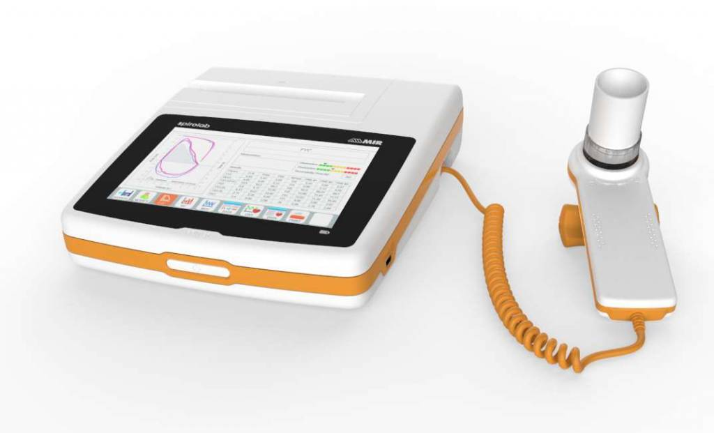 Spirolab desktop spirometer with oximeter and a 7 inch touchscreen