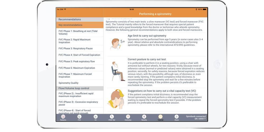 Spirobank II Smart Spirometer Bluetooth connectie met iPad