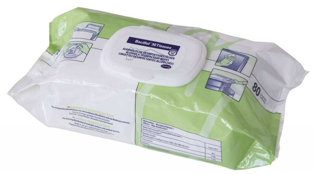 Bacillol® 30 Tissues oppervlaktereiniging voor uw praktijk, stethoscopen, onderzoeksbanken, buro etc