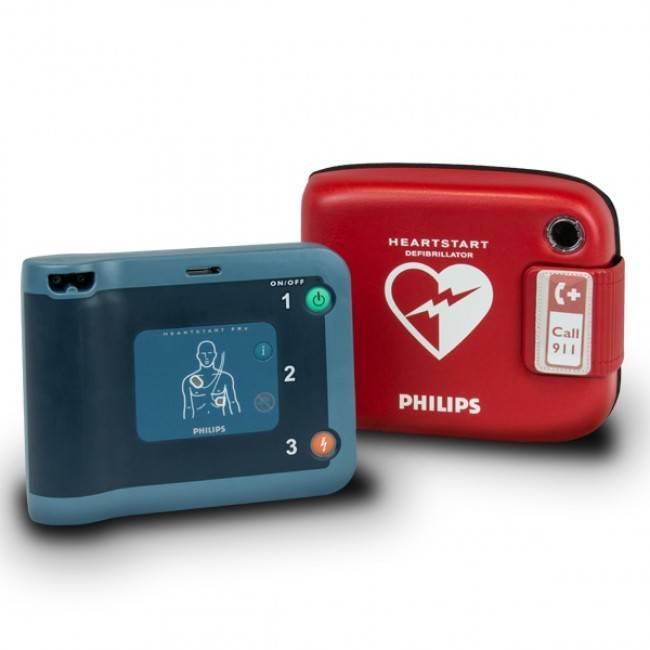 Philips HeartStart FRx AED Defibrillator with Philips carrying case with child key